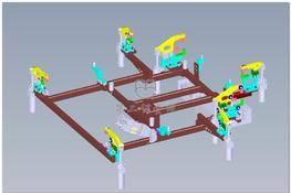 某车型前地板夹具设计 3D图纸 三维模型下载