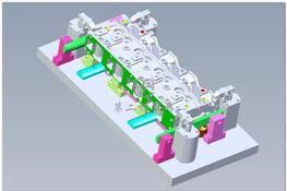 发动机气缸盖精密液压工装夹具(4种加工工序) 3D图纸 三维模型下载